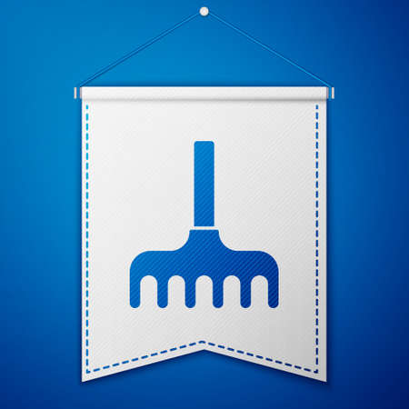 Blue Garden rake icon isolated on blue background. Tool for horticulture, agriculture, farming. Ground cultivator. White pennant template. Vector Illustration