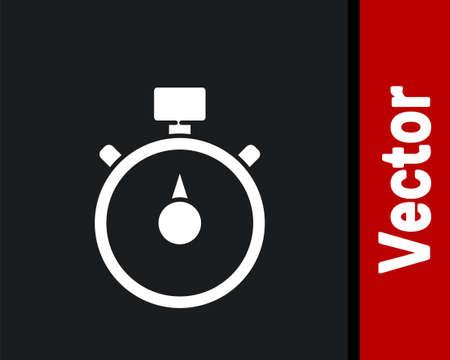 White Stopwatch icon isolated on black background. Time timer sign. Chronometer sign. Vector Illustration Ilustração