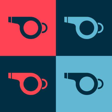 Pop art Whistle icon isolated on color background. Referee symbol. Fitness and sport sign. Vector Illustration