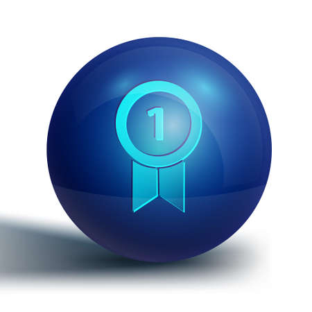 Blue Medal icon isolated on white background. Winner achievement sign. Award medal. Blue circle button. Vector Illustration