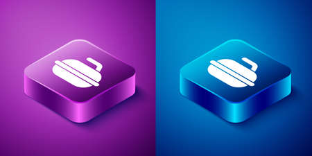 Isometric Stone for curling sport game icon isolated on blue and purple background. Sport equipment. Square button. Vector Illustration