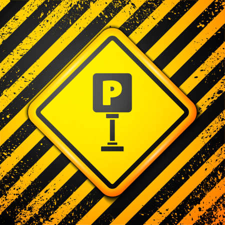 Black Parking icon isolated on yellow background. Street road sign. Warning sign. Vector Illustration