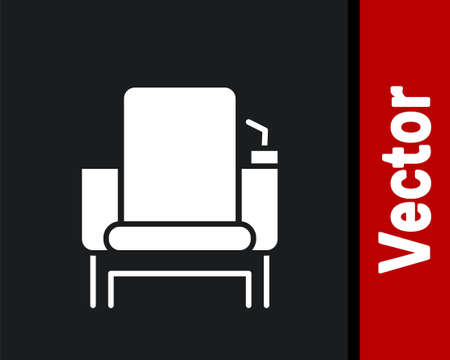 White Cinema chair icon isolated on black background. Vector Illustration