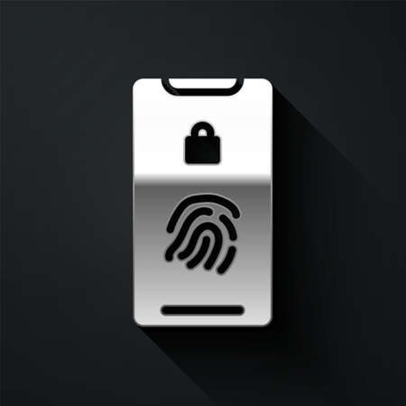 Silver Smartphone with fingerprint scanner icon isolated on black background. Concept of security, personal access via finger on mobile. Long shadow style. Vector Illustration