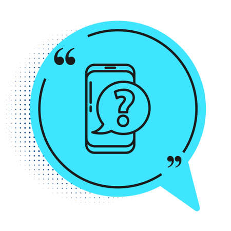 Black line Mobile phone with question icon isolated on white background. Blue speech bubble symbol. Vector Illustration