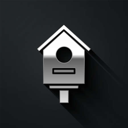 Silver Bird house icon isolated on black background. Nesting box birdhouse, homemade building for birds. Long shadow style. Vector Illustration Illustration