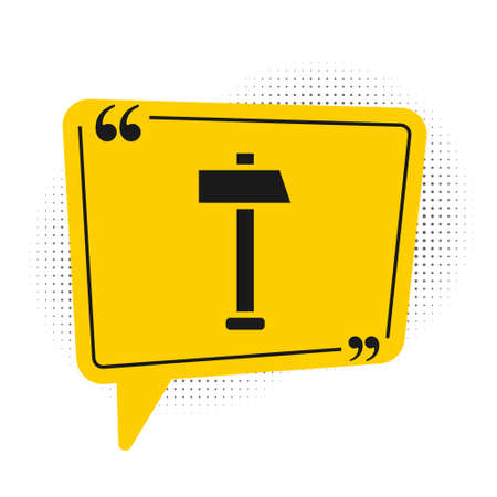 Black Hammer icon isolated on white background. Tool for repair. Yellow speech bubble symbol. Vector Illustration.