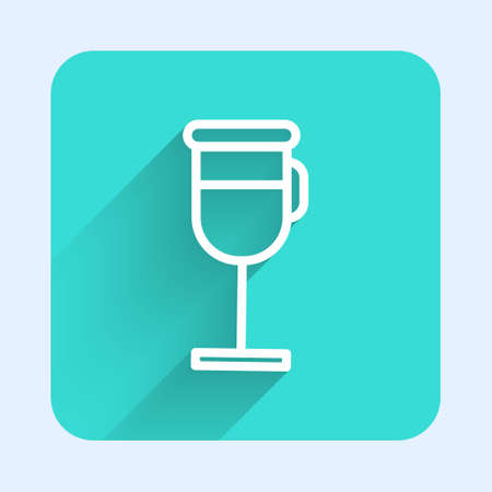 White line Irish coffee icon isolated with long shadow. Green square button. Vector Illustration Illustration