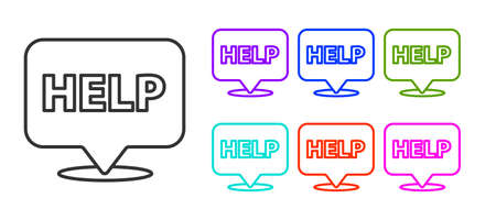 Black line Speech bubble with text Help icon isolated on white background. Set icons colorful. Vector Illustration