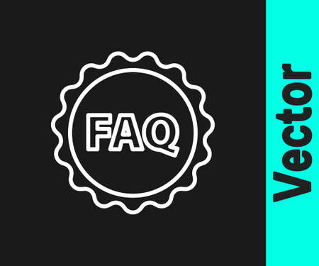 White line Label with text FAQ information icon isolated on black background. Circle button with text FAQ. Vector Illustration
