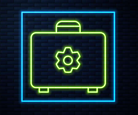 Glowing neon line Toolbox icon isolated on brick wall background. Tool box sign. Vector Illustration