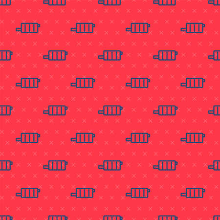 Blue line Car muffler icon isolated seamless pattern on red background. Exhaust pipe. Vector Illustration