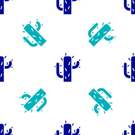Blue Cactus icon isolated seamless pattern on white background.  Vector Illustration.