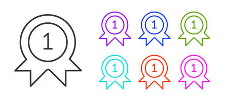 Black line Medal icon isolated on white background. Winner achievement sign. Award medal. Set icons colorful. Vector Illustration Çizim