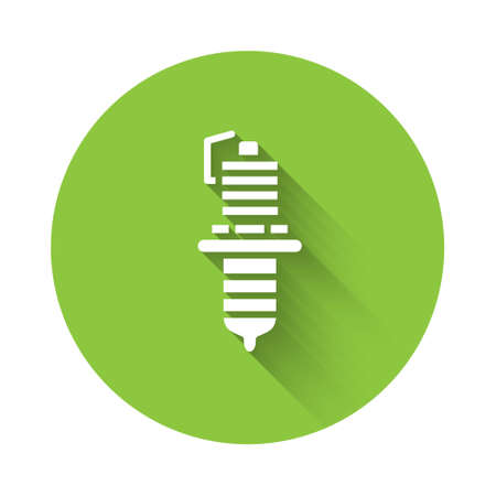 White Car spark plug icon isolated with long shadow. Car electric candle. Green circle button. Vector Illustration.