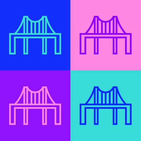 Pop art line Golden gate bridge icon isolated on color background. San Francisco California United States of America. Vector Illustration Illusztráció
