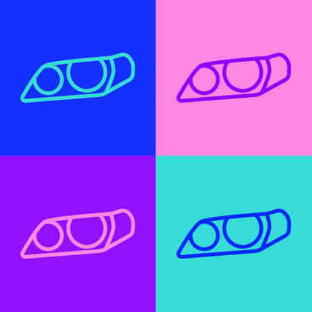 Pop art line Car headlight icon isolated on color background. Vector Illustration