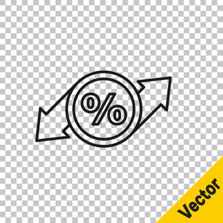 Black line Discount percent tag icon isolated on transparent background. Shopping tag sign. Special offer sign. Discount coupons symbol. Vector Illustration Çizim