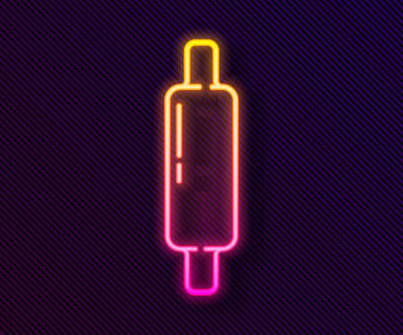 Glowing neon line Rolling pin icon isolated on black background. Vector Illustration