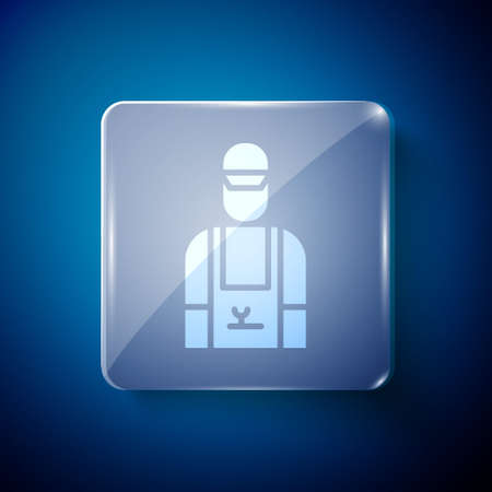 White Car mechanic icon isolated on blue background. Car repair and service. Square glass panels. Vector Illustration Stock Illustratie