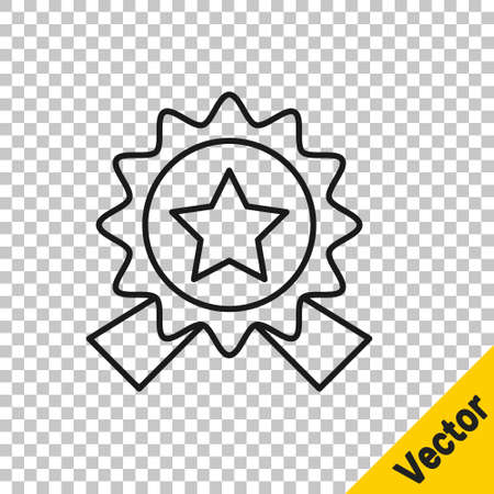 Black line Medal with star icon isolated on transparent background. Winner achievement sign. Award medal. Vector Illustration Çizim