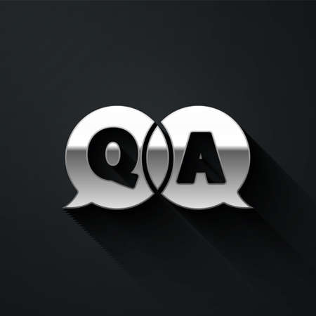 Silver Speech bubbles with Question and Answer icon isolated on black background. Q and A symbol. FAQ sign. Chat speech bubble and chart. Long shadow style. Vector Illustration 向量圖像