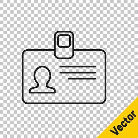Black line Identification badge icon isolated on transparent background. It can be used for presentation, identity of the company, advertising. Vector Illustration