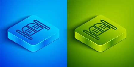 Isometric line Old western swinging saloon door icon isolated on blue and green background. Square button. Vector Illustration. Illustration