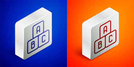 Isometric line ABC blocks icon isolated on blue and orange background. Alphabet cubes with letters A,B,C. Silver square button. Vector Illustration.