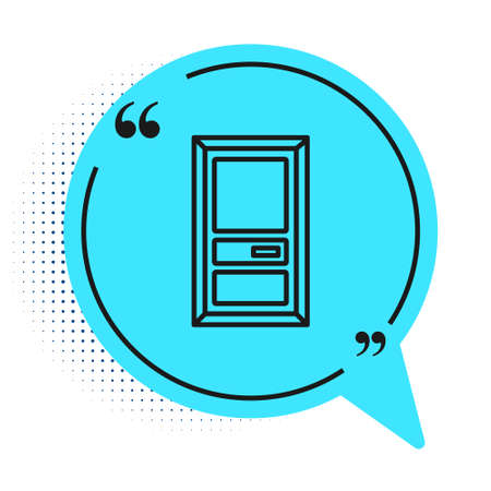 Black line Closed door icon isolated on white background. Blue speech bubble symbol. Vector Illustration