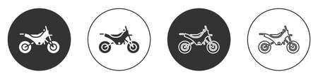 Black Mountain bike icon isolated on white background. Circle button. Vector Illustration