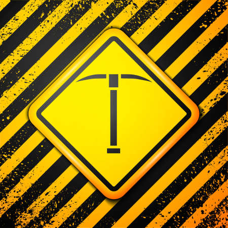 Black Pickaxe icon isolated on yellow background. Warning sign. Vector Illustration
