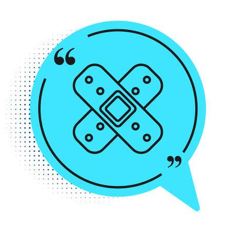Black line Crossed bandage plaster icon isolated on white background. Medical plaster, adhesive bandage, flexible fabric bandage. Blue speech bubble symbol. Vector Illustration