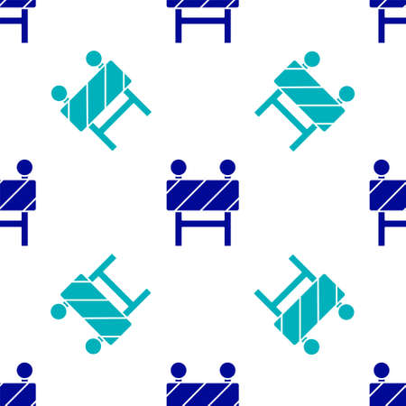 Blue Road barrier icon isolated seamless pattern on white background. Symbol of restricted area which are in under construction processes. Repair works. Vector Illustration Stock Illustratie