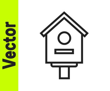 Black line Bird house icon isolated on white background. Nesting box birdhouse, homemade building for birds. Vector Illustration.