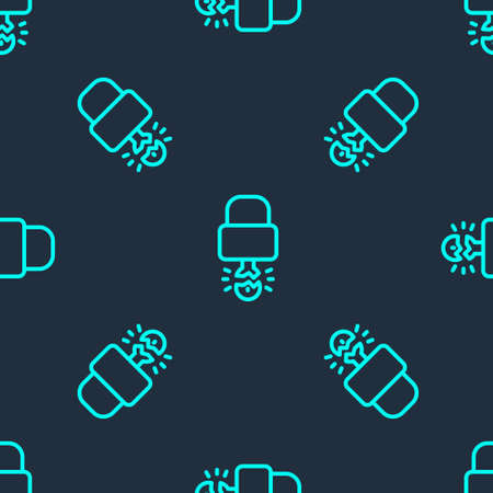 Green line Key broke inside of padlock icon isolated seamless pattern on blue background. Padlock sign. Security, safety, protection, privacy concept. Vector Illustration. Illustration