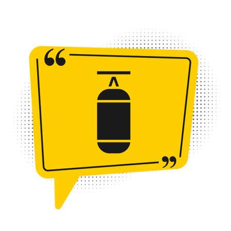 Black Punching bag icon isolated on white background. Yellow speech bubble symbol. Vector Illustration. Çizim