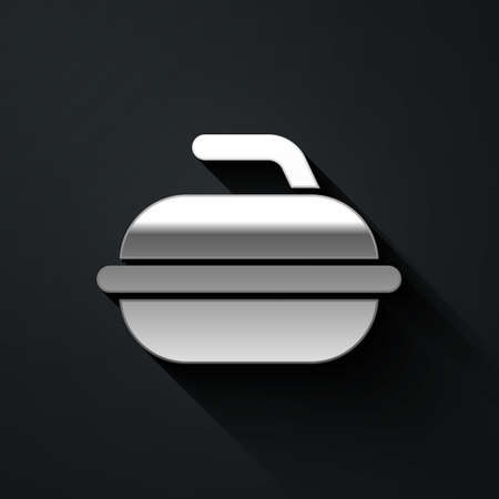 Silver Stone for curling sport game icon isolated on black background. Sport equipment. Long shadow style. Vector Illustration. Çizim