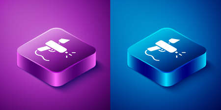 Isometric Paint spray gun icon isolated on blue and purple background. Square button. Vector Illustration.