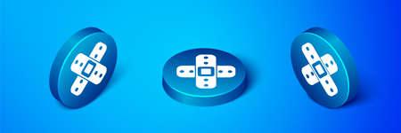 Isometric Crossed bandage plaster icon isolated on blue background. Medical plaster, adhesive bandage, flexible fabric bandage. Blue circle button. Vector Illustration. Ilustração