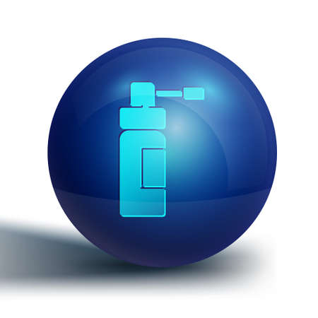 Blue Medical bottle with nozzle spray for the treatment of diseases of the nose and throat icon isolated on white background. Blue circle button. Vector Illustration. Vettoriali