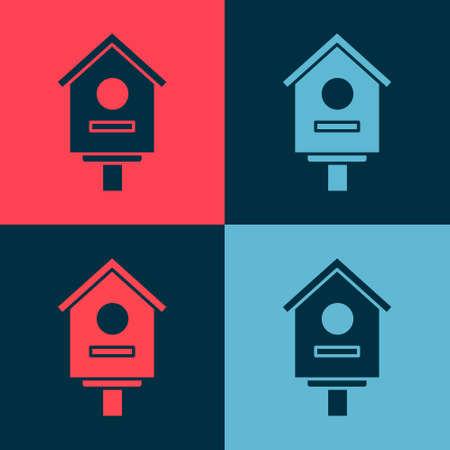Pop art Bird house icon isolated on color background. Nesting box birdhouse, homemade building for birds. Vector Illustration.