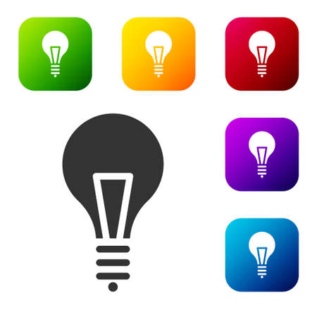 Black Light bulb with concept of idea icon isolated on white background. Energy and idea symbol. Inspiration concept. Set icons in color square buttons. Vector Illustration.