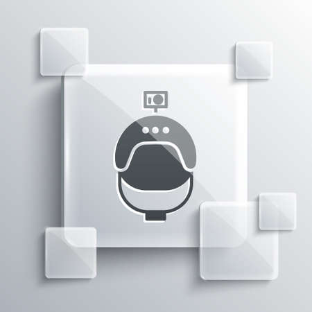 Grey Helmet and action camera icon isolated on grey background. Square glass panels. Vector Illustration