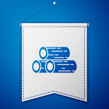 Blue Wooden logs icon isolated on blue background. Stack of firewood. White pennant template. Vector Illustration