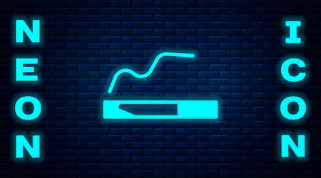 Glowing neon Cigarette icon isolated on brick wall background. Tobacco sign. Smoking symbol. Vector Illustration Illusztráció