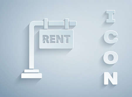 Paper cut Hanging sign with text Rent icon isolated on grey background. Signboard with text For Rent. Paper art style. Vector Illustration Ilustrace