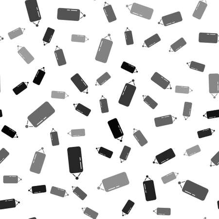 Black Punching bag icon isolated seamless pattern on white background. Vector Illustration Çizim