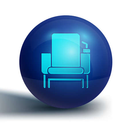 Blue Cinema chair icon isolated on white background. Blue circle button. Vector Illustration