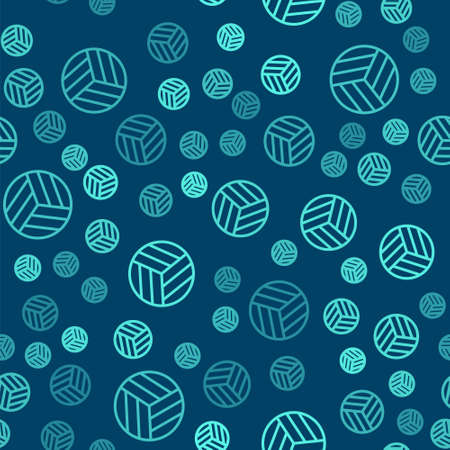 Green line Volleyball ball icon isolated seamless pattern on blue background. Sport equipment. Vector Illustration
